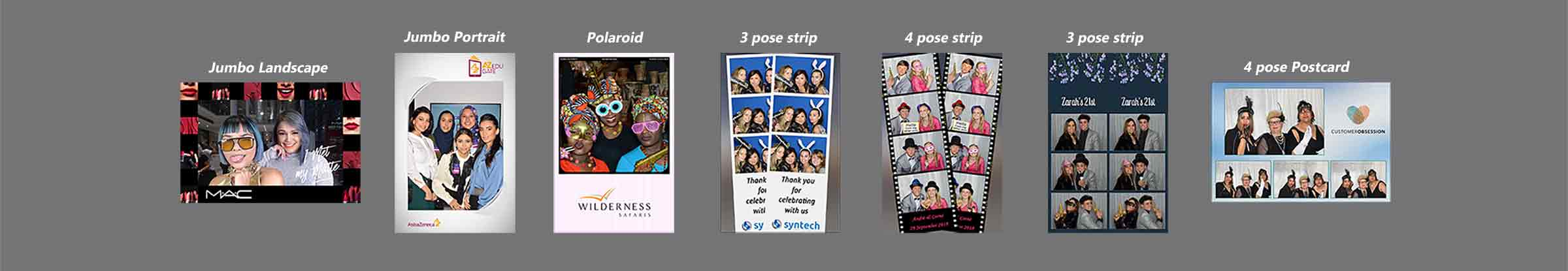 choice of photo templates from Probooth cape town