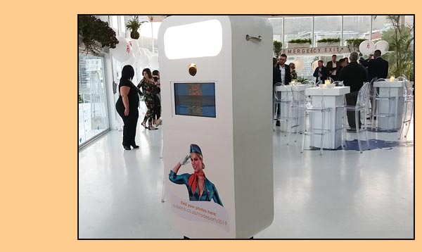 white tower photobooth with client branding
